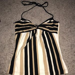 Nude and black striped halter top